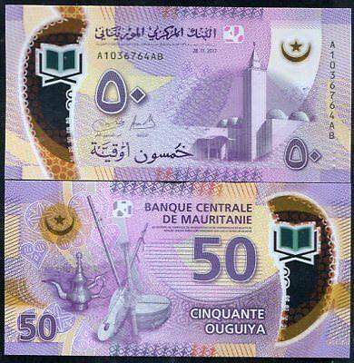 MAURITANIA 50 OUGUIYA 2017 / 2018 P NEW DESIGN POLYMER PURPLE UNC