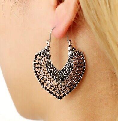 Vintage Boho Tibetan Silver Dangle Drop Earrings Flower Ornate Swirl for Women