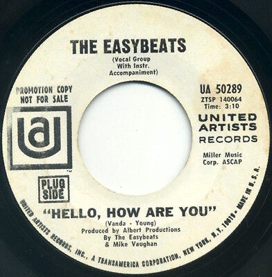 The Easybeats Hello  How Are You Come In  Youll Get Pneumonia 7  1967 Promo Vg