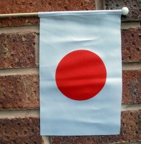 "JAPAN HAND WAVING FLAG medium 9"" X 6"" wooden pole flags JAPANESE TOKYO"