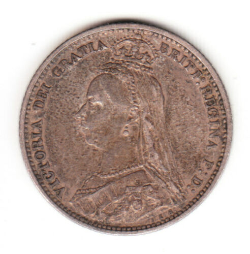 1888 Great Britain Queen Victoria Silver Sixpence. EF.