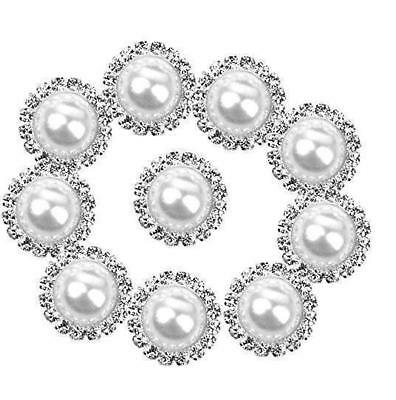 10pcs Round Rhinestone Faux Pearl Glue on Flat Back Embellishment White 15mm