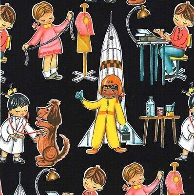 Kids Fabric - You Go Girl Retro Jobs Professions Black - Michael Miller YARD