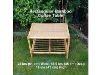 Rectangular Bamboo Coffee Table - Measurements on Photo