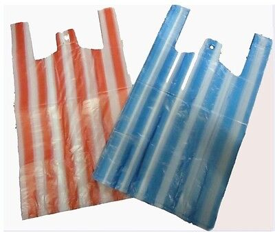 100 Large Stripe 11''x17''x21''  12Mu Vest Carrier Bags Medium Strong