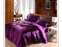 Purple satin feel double bed set