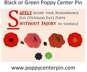 Remembrance Day November 11th Poppy Center Pins - 5 Pin Lot