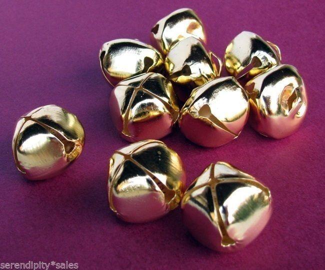 "LOT 500 Bright Shiny GOLD JINGLE BELLS ~ 25mm / 1"" Metal Craft CHRISTMAS Bells"