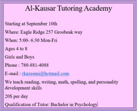 Al-KAUSAR Tutoring Academy for ages 4 to 8