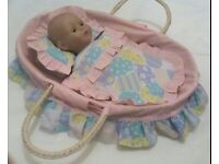 Baby Doll & Wicker Moses Basket