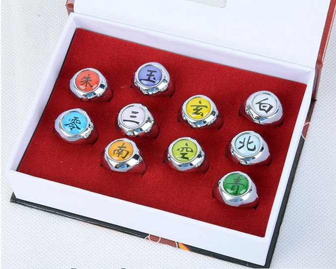 New Hot Sell ! Naruto Rings /10 pcs NARUTO Akatsuki Cosplay member