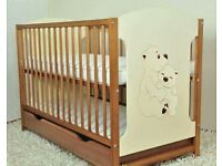 Baby wooden cot with drawer