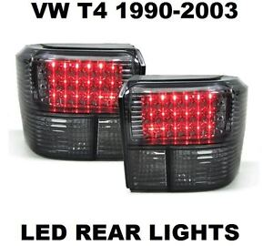 VW TRANSPORTER T4 90-03 CRYSTAL SMOKED BLACK LED REAR TAIL LIGHTS LAMPS