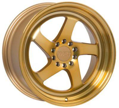 F1R F28 18X8.5 5X114.3/120 +35 Machined Gold Wheel Fits Rsx Tsx Civic Accord Wrx