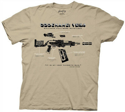 Firefly/Serenity Code Name Vera Gun Diagram Beige Adult T-Shirt Size Small NEW