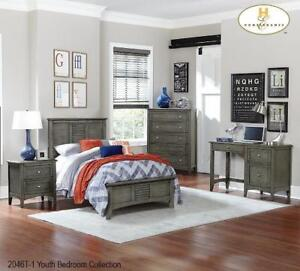 GREY FINISH TWIN 7 PC BEDROOM SET (MA365)
