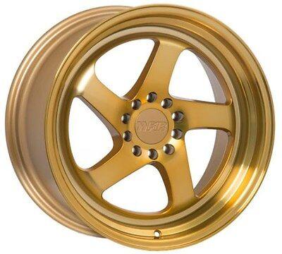 F1R F28 18X8.5 +38 5X114.3 GOLD WHEEL FIT 240SX RSX TSX XB CIVIC SI RX7 RX8 TL