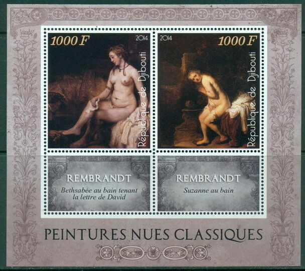 Nude Art Classic Paintings Rembrandt Rubens etc Djibouti MNH stamps set 10 shts.