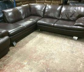 super comfy Brown leather corner sofa