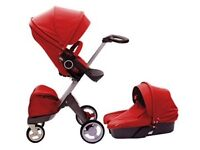 Stokke Xplory Red Pram System Including Carrycot & Pushchair
