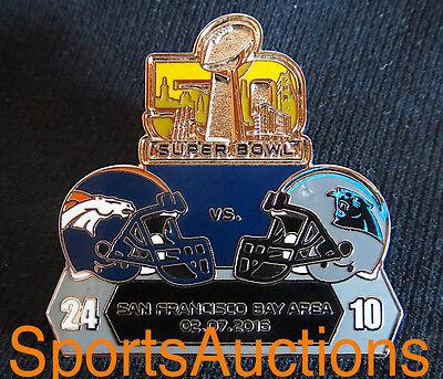Super Bowl 50   Final Score Lapel Pin Willabee   Ward Denver Broncos Vs Panthers