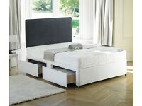 "❤Same Day Delivery❤ Brand New 4FT6 Or 4FT Double Divan Bed w 9"" Dual-Sided Semi Orthopaedic Mattress"