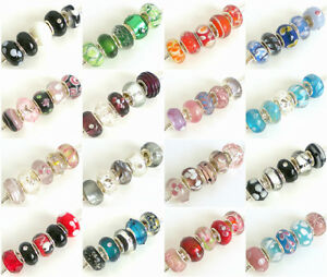 Mix-of-5-Fabulous-GLASS-Charm-Beads-Selection-of-20-colours-FOR-Bracelets
