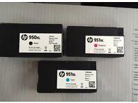 HP Ink Cartridges: Black 950XL, Cyan 951XL, Magenta 951XL