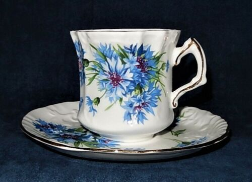VINTAGE HAMMERSLEY & CO. ~ CORNFLOWER BLUE № 6034 ~ TEACUP & SAUCER