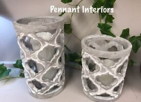 Grey and white stone effect candle holders