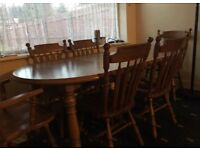 Stylish oak dining table 6 chairs