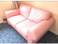 Pink leather sofa