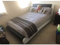 Dreams double bed leather frame + slats (excludes mattress)