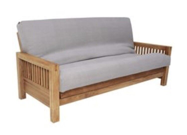 Oak 3 Seater Futon Sofa Bed