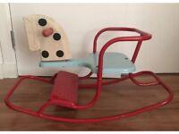 Vintage 1950's retro 'Triang' children's nursery rocking rocker horse red & blue