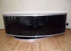 Black glass oval tv unit