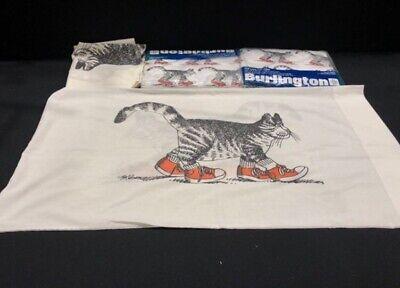 Rare Vtg Burlington Kliban Cat Red Shoes King Sheet Set Flat Fitted Pillowcases