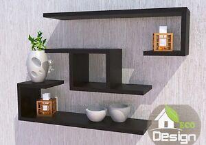 set 3 mensole in legno design moderno vari colori bianco