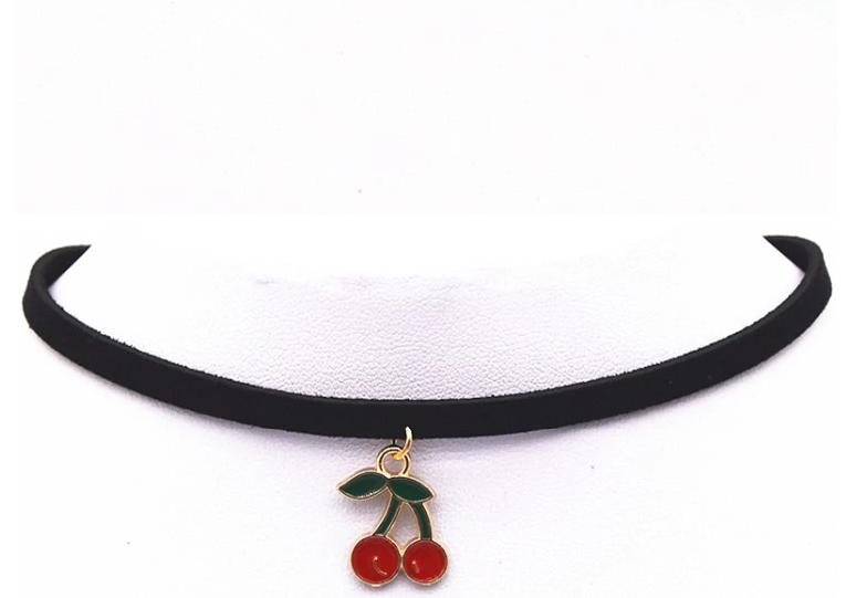 Jewellery - Double Cherry Charm Choker, Black Faux Suede, Enamel Necklace 90s Retro Jewelry