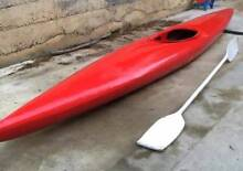 KAYAK AND PADDLE..4.2M LONG.  GOOD CONDITION...PAINTED RED.. Berwick Casey Area Preview