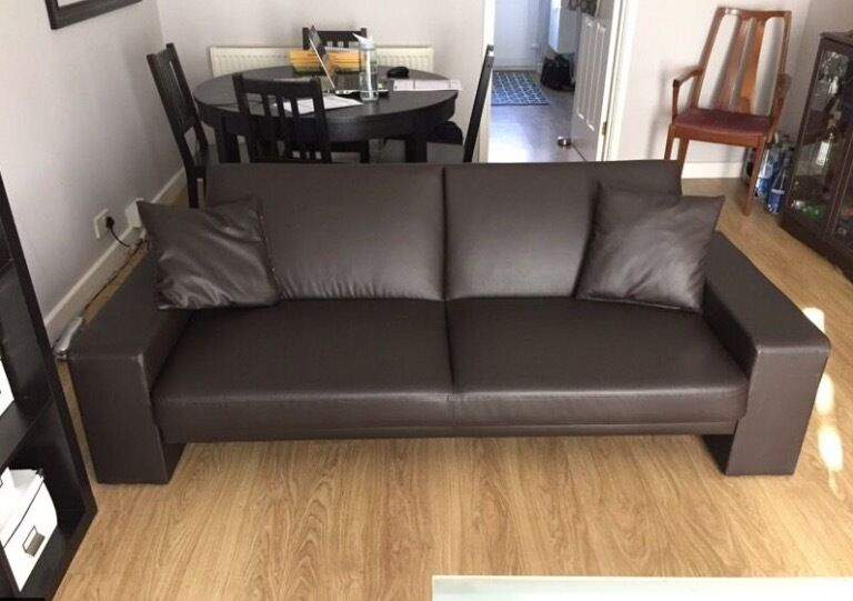 2 Leather sofa beds