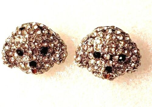 Maltese Puppy Dog White Crystal Covered Post Stud Earrings Jewelry