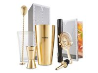 VonShef Brushed Gold Boston Cocktail Shaker Set 8 piece in Gift Box with Recipe Guide & Accessories