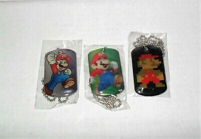 SUPER MARIO DOG TAGS PIXEL 8-BIT & 2 SUPER MARIO TAGS LOT OF 3