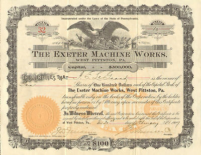 The Exeter Machine Works > 1907 West Pittston Pennsylvania stock certificate