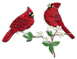 Cardinal-Bird-Cardinals-On-A-Branch-Embroidered-Iron-On-Applique-Patch
