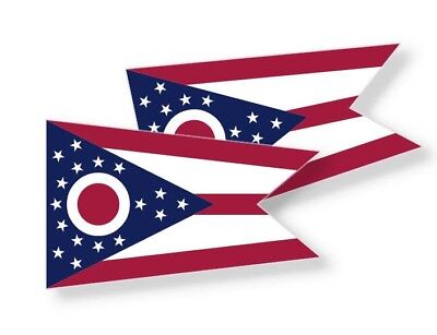OHIO STATE FLAG STICKERS - Vinyl Decal -Choose Size -Set of 2 Stickers