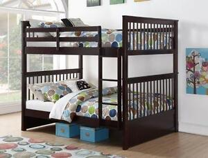 LORD SELKIRK FURNITURE - DOUBLE / DOUBLE BUNK BED FRAME IN ESPRESSO, WHITE ALSO AVAILABLE