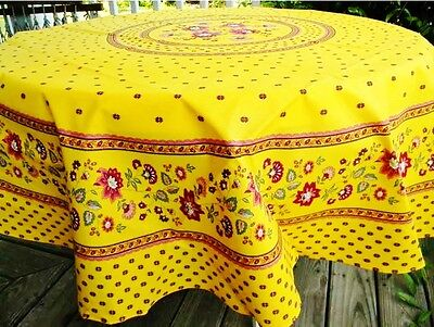 """LE CLUNY, FAYENCE YELLOW, FRENCH PROVENCE COATED COTTON TABLECLOTH, 70"""" Spate"""