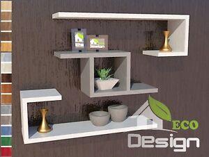 Set 3 mensole in legno cubo design moderno parete for Mensole per ingresso
